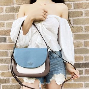 Kate Spade FlapShoulder Bag Blue Taupe Crossbody